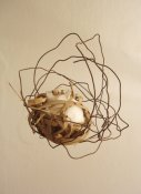 NEST I., 2006, wires, cotton wool, grass, 20x20x18 cm