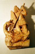 St. George with dragon, limewood, 28 cm